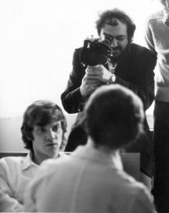 """Stanley Kubrick, Malcolm McDowell"""