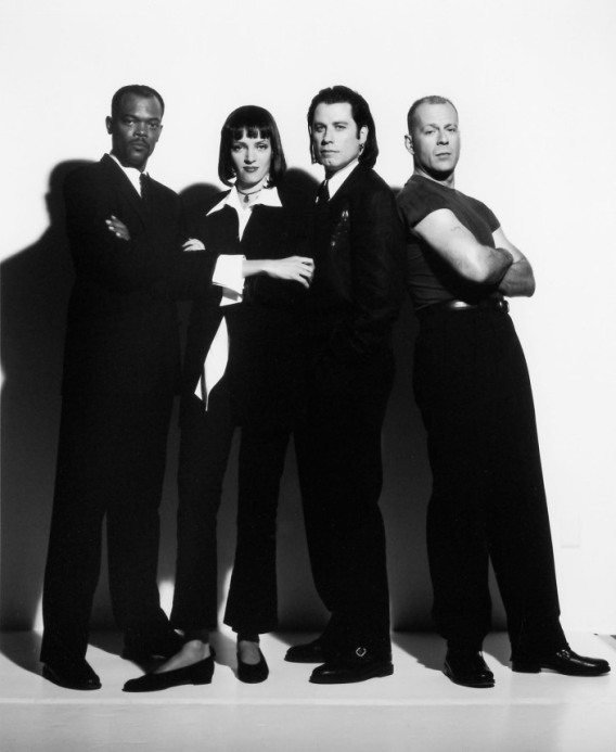 Samuel L. Jackson, Uma Thurman, John Travolta, and Bruce Willis as they appear in PULP FICTION, 1994.